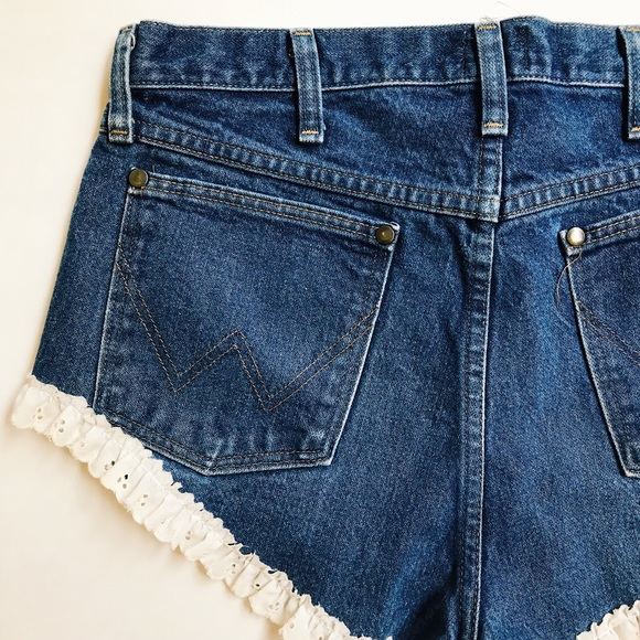 Wrangler Pants - Wrangler Cutoff Jean Shorts with Lace Eyelet Trim